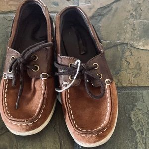 Old Navy little boy brown loafers sz 12 VGUC